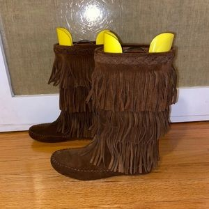Minnetonka Tassel Moccasin Boots